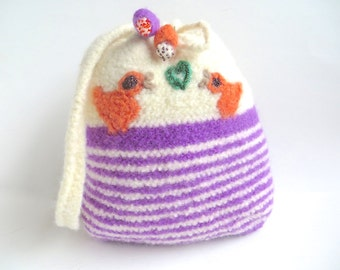 "Felt bag/Felt pouch ""Lisa"", pure new wool, crocheted, felted, white, violet, orange, green, beige, brown, birds, heart, OOAK, one of a kind"