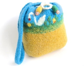 "Felt bag/Felt pouch ""Swan Lake"", pure wool, crocheted, felted, mango yellow, turquoise, green, white, orange, ducklings, OOAK, one of a kind"