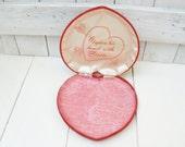 Vintage red velvet heart box message inside