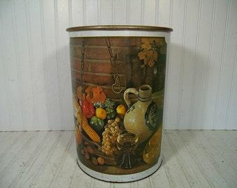 Vintage Large Round Waste Can Primitive Still Life Lithograph Off White Enamel Metal - Retro Ballonoff Over Sized Decorator Trash Basket Bin