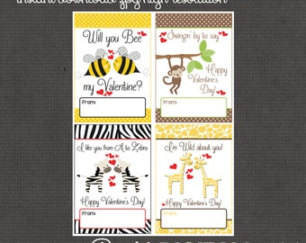"""Animal/ Bug Valentines day cards 3.5x5"""" each- 8 designs digital you print your own- INSTANT DOWNLOAD"""