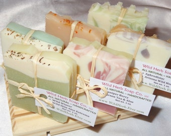 All Natural Soap Set by WILD HERB - Variety Sampler or Travel Pack - 2 Scented Slices/pack! (1 oz. packets)