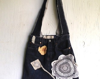 denim summer Rustic boho gypsy ooak navy Shabby  upcycled purse slouchy iPad  gym makeup pilates yoga boho hobo bag purse tote