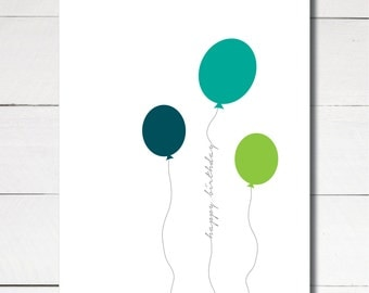 Instant Download Printable Happy Birthday Greeting Card Balloon size A2 4.25x5.5
