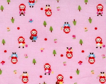 Minny Muu by Lecien - Little Red Riding Hood Kitty on Pink - Cut Options Available