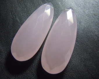 Pink Chalcedony Briolette Faceted Pear Drops Size 13x38MM AAA High Quality  Wholesale Price