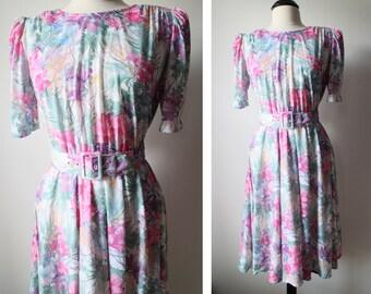 Vintage 80s MOD Floral Dress Size 10 Medium