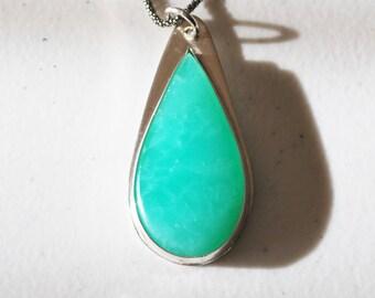 Nevada Variscite Pendant Necklace - Varisite Pendant Necklace - Variscite and sterling silver pendant necklace.