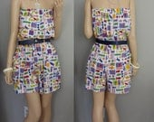 80's Beach Fun Print Strapless romper sundress / Playsuit nautical romper shorts / L-XL Plus Size