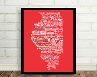 Illinois State Word Art Typography Print The Buckeye State Modern Art The Prairie State