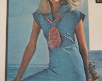 UNCUT Vintage 1976 Boho McCall's  Nautical Sailor Collar Jumpsuit with Cap Sleeve 4980 Sewing Pattern Size 14 Bust 36
