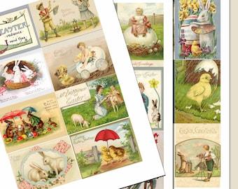 Vintage Easter Images,Collage sheets, set of 3 sheets,  26 images