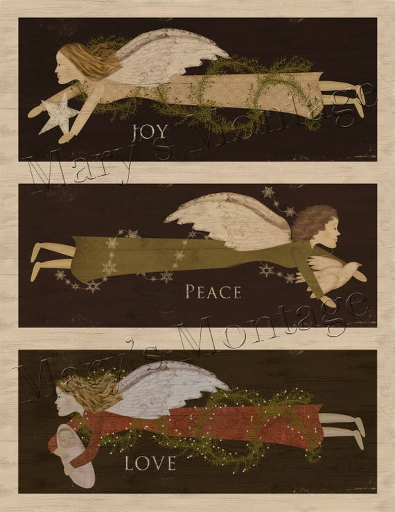Christmas FolkArt Angels, Download & Print 8.5 x11 sheet