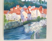 Original Acrylic Painting on Canvas - Riverside Village
