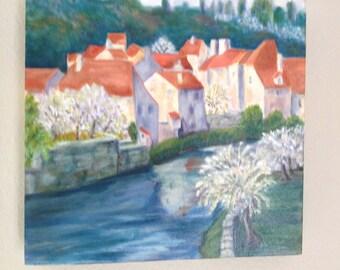 Original Acrylic Painting on Canvas - Riverside Village