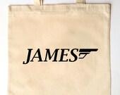 Custom Printed Ring Bearer Groomsmen Tote Bag for Weddings - 007 James Bond Themed