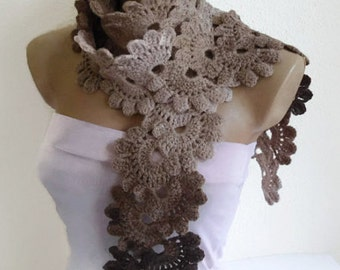 Crocheted coffee, cream, beige  Lace scarf, fashion,autumn,Holiday Accessories,Christmas,Halloween,gift