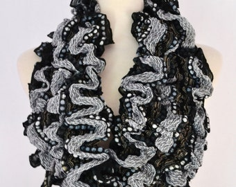 SUPER SALE 9.99 Black Cute Circle Scarf, Boho Ruffled Infinity Loop Circle Scarf Snood Cowl Women's Chunky Knitted Scarves Gift idea