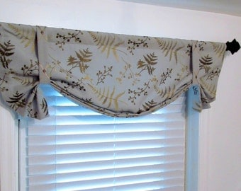 Embroidered Tie Up Valance Lined Curtain  Antique Gold Leaves Beige Robin Blue Custom Sizing Available!