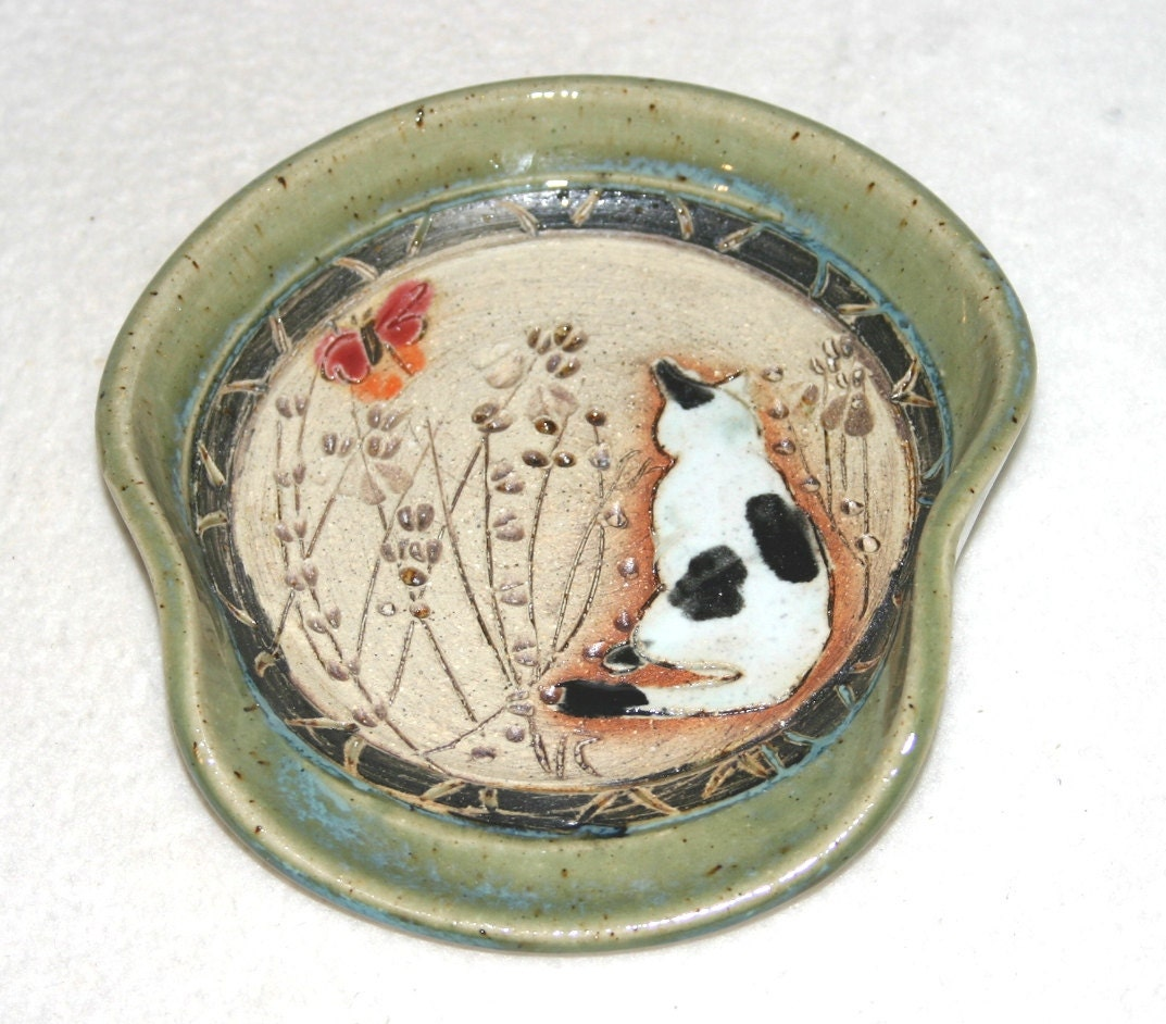 Handmade Stoneware Pottery Cat Spoon Rest By Greenearthpottery