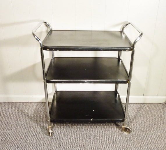 Cosco Chippy Black Metal Kitchen Cart Movable Vintage 50s