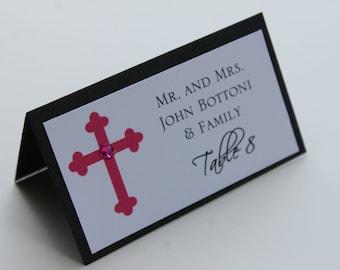 Classy Cross Girl Baptism-Communion Place Cards