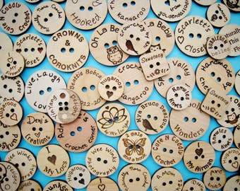 Custom Laser Engraved Birch Ply Buttons (set of 25)