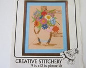 "Window Floral Crewel Large Embroidery Kit Vogart  9"" x 12 inches 1979"