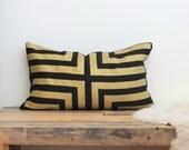 Doha hand printed in metallic gold on black organic hemp pillow cover 12x21
