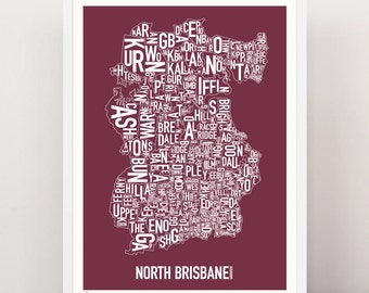 NORTH BRISBANE - Large Suburban Screen Print