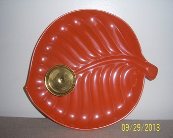1970's Orange Tray  -  Vintage Chip and Dip Tray  -  Metal Leaf Tray -  Serving Tray - Metal Serving Tray