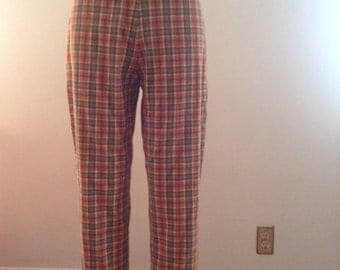 Plaid Cigarette Pants Waist 27 Small- Medium