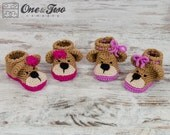 Teddy Bear Booties - PDF Crochet Pattern - 2 versions - Baby sizes ( 0-3, 3-6, 6-12 months ) - Shoes Baby Newborn Slippers