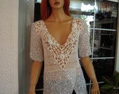 wedding top handmade knitted sequin white peplum top,boho blouse, deep V neck top,sparkle top M/L size gift idea for her by golden yarn