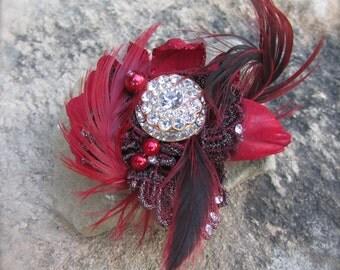 Brooch Pin handmade Red Elegance