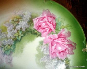 Vintage Edwardian Extra Large Round Decorative Roses Platter Hutschenreuther HR Bavaria Display Plate