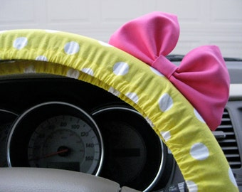 Steering Wheel Cover Bow, Yellow Polka Dot Bikini Steering Wheel Cover with Light Pink Bow BF11061