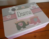 Personalized Keepsake Box/ Memory Box/ Elephant Theme