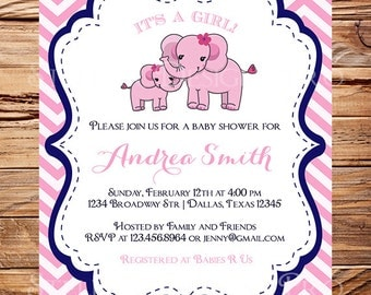 Pink, Blue Elephant Baby Shower, GIRL, Baby Shower Invitation, Baby Shower Girl, Boy, Elephant, Gray, Pink, Blue, brown, 1485