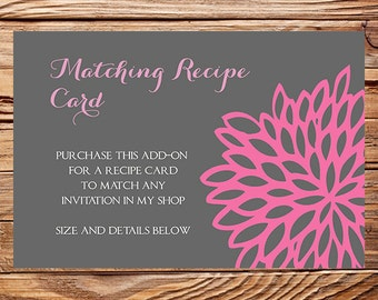 Matching Recipe Card, Digital, Printable File