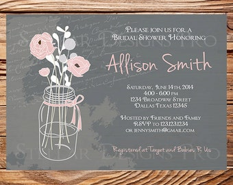 Chalkboard Mason Jars Bridal Shower Invitation,Gray, Pink, Purple, Yellow, Vintage Mason Jar Invitation,Mason Jar Wedding Shower, 5175