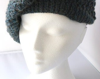 Women's hand knitted lacy slouchy green wool beret. Mohair and acrylic.