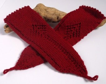 Women's hand knitted wristwarmers / armwarmers / fingerless gloves.Small to medium. Cherry red