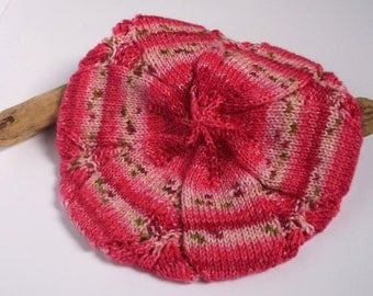 Hand knitted self patterning Tam / Beret in pink. Adult women or teenager.