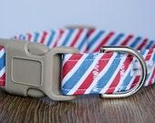 Nautical Stripe Dog Collar - Beach Dog Collar - Boy Dog Collar - Girl Dog Collar - Red White and Blue Dog Collar