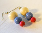Upcycled Vintage Lucite Bead Earrings Earth Friendly