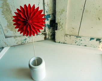 RED Paper Dahlia, Ruby Red, Mothers day gift, Easter, Valentine or Wedding Flower, Paper Flower, Origami Flower on a stem