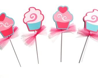 Tea Party Cupcake Themed Centerpiece Stick Set of 4