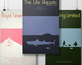 Wes Anderson Set of 3 Posters - The Royal Tenenbaums - Life Aquatic - Darjeeling Limited