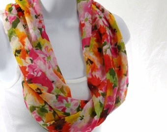 Flower Print Infinity Scarf, Summer Chiffon Infinity Scarf, Poppy Red Scarf, Yellow, Pink, and Orange Floral Infinity, Single Loop Scarf